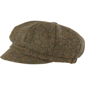 MJM Barones Harris Tweed Hat - Green Herringbone - One Size