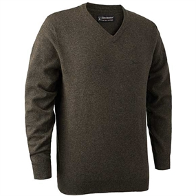 Deerhunter Brighton Knit V-neck - Dark elm