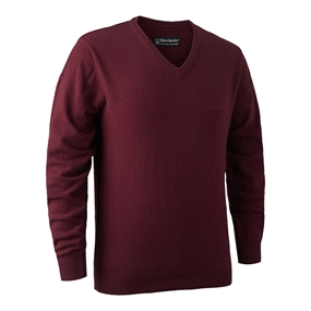 Deerhunter Brighton Knit V-neck - Red Mel.