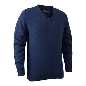 Deerhunter Brighton Knit V-neck - Blue Mel.