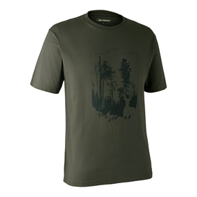 Deerhunter T-shirt med Skjold - Bark green