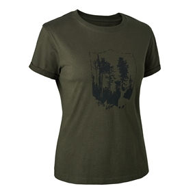 Deerhunter Lady T-shirt med Deerhunter skjold - Bark green