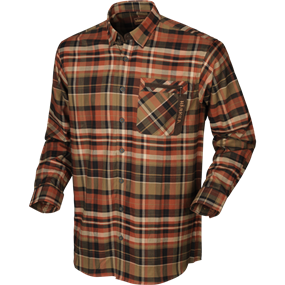 Härkila Newton L/S skjorte - Dark burnt orange check