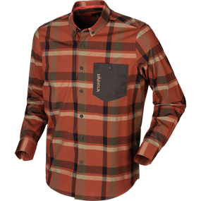 Härkila Amlet L/S skjorte - Dark burnt orange check
