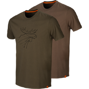 Härkila Härkila graphic t-shirt 2-pack - Willow green/Slate brown