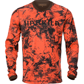 Härkila Wildboar Pro L/S t-shirt - AXIS MSP® Orange Blaze/Shadow brown
