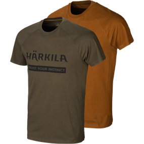 Härkila logo t-shirt 2-pack - Willow green/Rustique clay